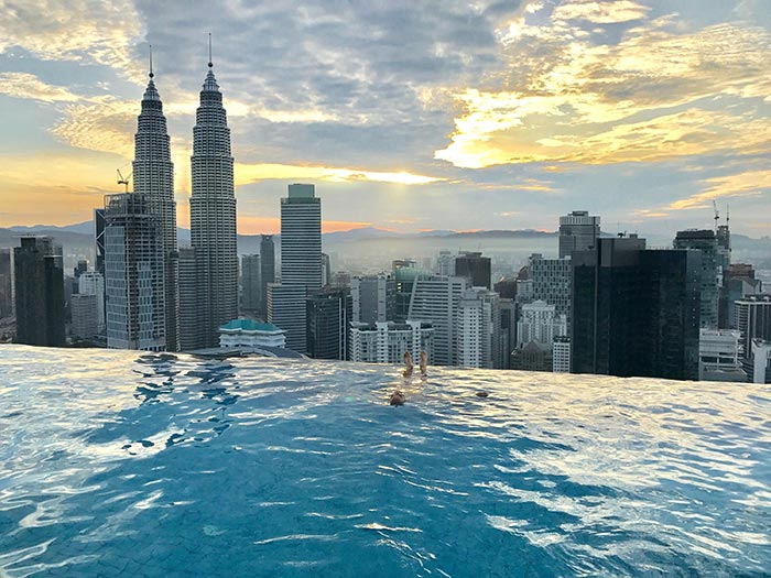 Luxury rooms and stunning rooftop pool at the face suites - Rooftop swimming pool kuala lumpur ...