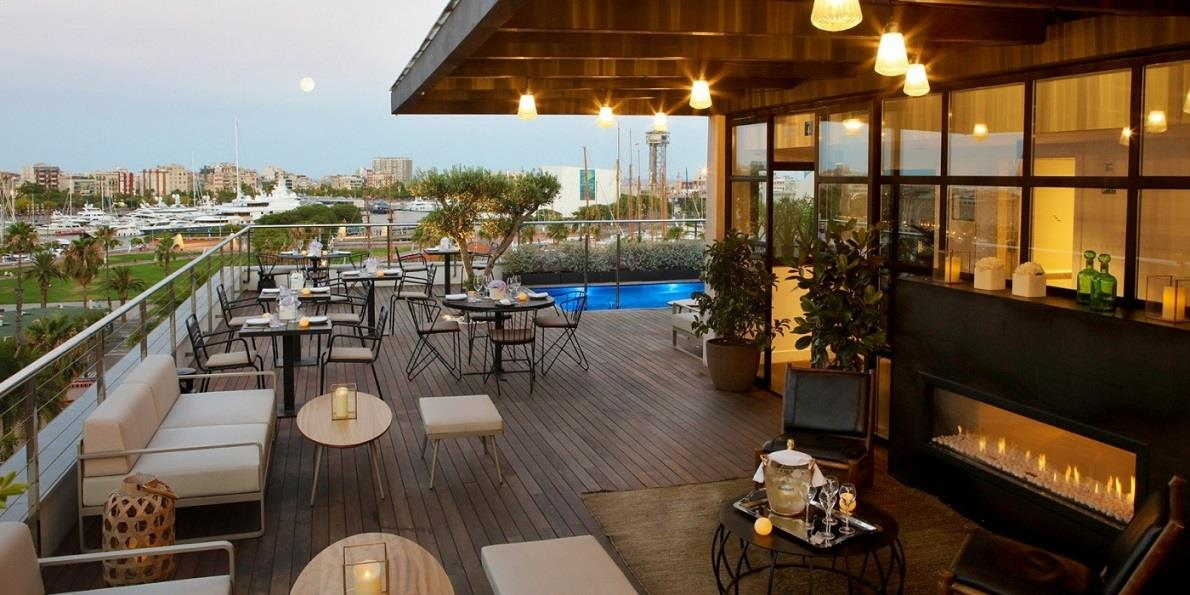 The rooftop terrace at the luxury Hotel the Serras in ...