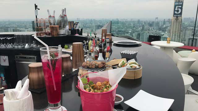 Rooftop bar CRU Champagne Bar in Bangkok