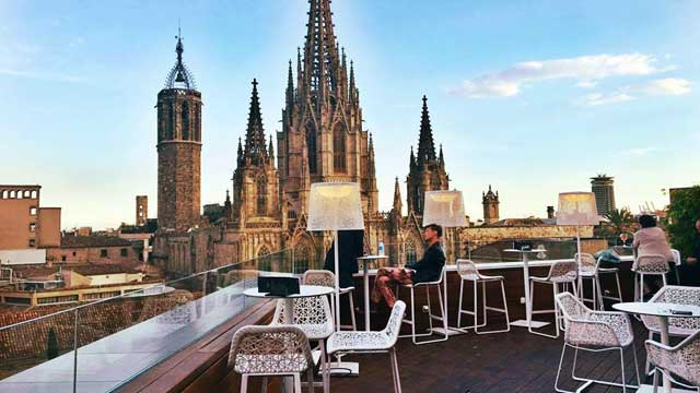 Panoramic Terrace At Hotel Colón Rooftop Bar In Barcelona