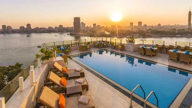 Rooftop The Roof Pool Bar at Kempinski Nile Hotel in Cairo