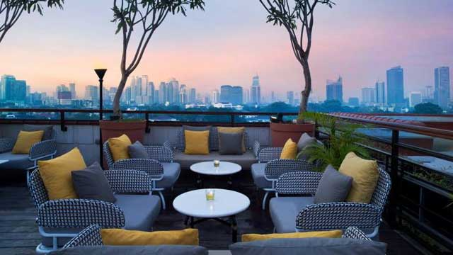 Rooftop bar La Vue at The Hermitage Hotel in Jakarta
