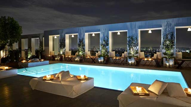 Sky Bar At The Mondrian Hotel Rooftop In La Los