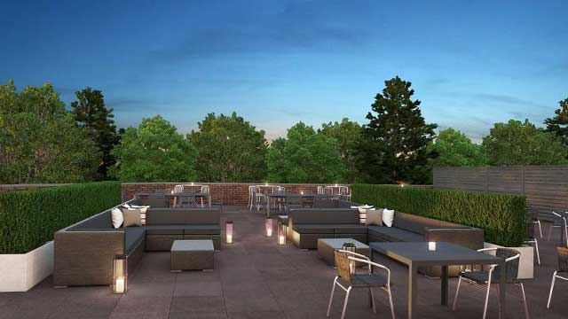 Rooftop bar The Retreat at Hilton Short Hills in New Jersey