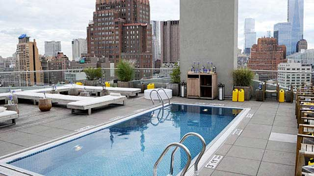 Jimmy at the james hotel rooftop bar in new york nyc for Garden city pool new york
