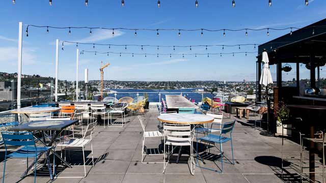 Rooftop bar Mbar in Seattle