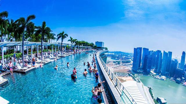 Singapore Hotel With Infinity Pool On Rooftop Image Marina Bay Sands Rooftop Bar In Singapore THEROOFTOPGUIDE COM